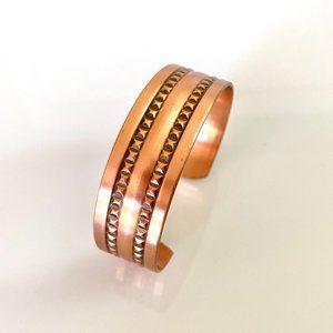 Wide Solid Copper Patterned Bracelet